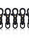 FURA 360 Degree Rotation Nylon Plastic Steel Lightweight & High Strength Parachute Cord Carabiner - Black (5 PCS)