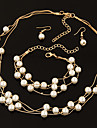 Pearl Layered Jewelry Set - Pearl, Imitation Pearl Party, Work, Casual Include Gold / Silver For Wedding Party / Earrings / Necklace