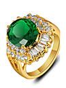 Жен. Кольцо Зеленый Стразы Позолота Винтаж Для вечеринки Мода Свадьба Для вечеринок Повседневные Бижутерия