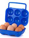 caja de picnic al aire libre portatil de doble caja de huevo con huevos de bloqueo del mango de color al azar