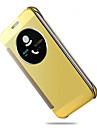 Para Samsung Galaxy S7 Edge com Visor / Hibernacao/Ligar Automatico / Cromado / Espelho / Flip Capinha Corpo Inteiro Capinha Cor Unica PC