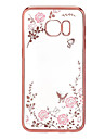 Para Samsung Galaxy S7 Edge Com Strass / Cromado / Transparente / Estampada Capinha Capa Traseira Capinha Flor TPU SamsungS7 edge / S7 /