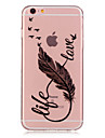 For iPhone 7 Plus TPU Life and Love Feather Pattern Transparent Soft Back Case for iPhone 6s 6 Plus