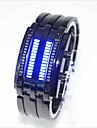 Hombre Mujer Pareja Digital Reloj de Pulsera Resistente al Agua LED Aleacion Banda Creativo Reloj creativo unico Moda Negro Plata