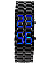 Unisex Men\'s Watch Blue LED Lava Style Faceless Watch Black Steel Band Wrist Watch Cool Watch Unique Watch Fashion Watch