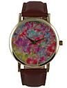 Женские Нарядные часы Модные часы Защита от влаги Кварцевый PU Группа Цветы Повседневная Коричневый