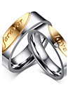 "2016 ""Forever Love"" Noble Titanium Steel CZ Stone Wedding Couples Ring  For Women&Man"