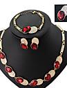 Pentru femei Set bijuterii - Ștras, Placat Auriu Modă Include Rosu / Verde / Albastru Pentru Nuntă Petrecere / Inele / Σκουλαρίκια / Coliere / Brățară