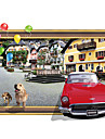 3D Fashion Architecture City House Red Car 3D Wall Stickers Removable Living Room Bedroom Wall Decals