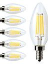 E14 LED Filament Bulbs C35 4 leds COB 400lm Warm White 2700K Dimmable Decorative AC 220-240