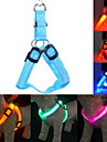 Cat Dog Harness Leash Training Safety Lights Lighting Leash LED Lights Adjustable / Retractable Solid Nylon Yellow Green Blue Pink Dark