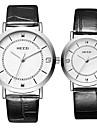 KEZZI Couple\'s Quartz Wrist Watch / Hot Sale Leather Band Casual Fashion Cool Black White Silver Brown