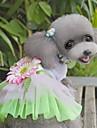 Кошка Собака Платья Одежда для собак Цветы Зеленый Розовый Ткань Костюм Для домашних животных Жен. Очаровательный Мода