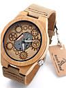 여성용 스포츠 시계 밀리터리 시계 드레스 시계 패션 시계 시계 나무 손목 시계 독특한 창조적 인 시계 석영 / 가죽 밴드 빈티지 멋진 캐쥬얼 아이보리