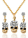 May Polly  Simple fashion Rhinestone Skull Necklace Earrings Set