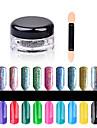 Purpurina & PoOutro- com1box nail powder + 1pcs brush-1.5cm*3cm