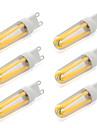 6pcs 4 W 380-400 lm G9 LED Gluehlampen T 4 LED-Perlen COB Warmes Weiss / Kuehles Weiss 220-240 V / 6 Stueck / RoHs