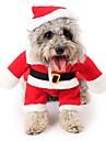 Gato Cachorro Fantasias Macacao Natal Roupas para Caes Fofo Fantasias Natal Desenhos Animados Vermelho Ocasioes Especiais Para animais de