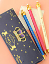 Crown Metal Body Black Ink Gel Pen(Random Color)