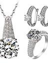 Femme Set de Bijoux Strass Imitation de diamant Amour Bijoux de Luxe bijoux de fantaisie Zircon Strass Alliage 1 Collier 1 Paire de