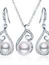 Women\'s Imitation Pearl Party Casual 1 Necklace 1 Pair of Earrings Costume Jewelry