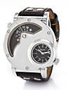 Мужской Спортивные часы Армейские часы Модные часы Наручные часы С двумя часовыми поясами Кварцевый Натуральная кожа ГруппаВинтаж