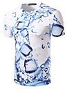 T-shirt Per uomo Spiaggia Essenziale Con stampe, Fantasia geometrica Rotonda - Cotone / Manica corta / Taglia piccola