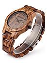 남성용 손목 시계 독특한 창조적 인 시계 시계 나무 석영 일본 쿼츠 달력 나무 밴드 럭셔리 브라운