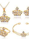 Mulheres Conjunto de Joias Cristal Basico bijuterias Strass Liga Formato Coroa 1 Colar 1 Par de Brincos 1 Bracelete Aneis Para Casamento