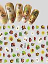 1pcs Fashion Creative Design Nail Art 3D Sticker Cute Cartoon Animal Ladybug Beautiful Flower Design Nail DIY Beauty Decoration F203