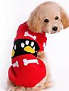 Собака Свитера Одежда для собак Шелковая ткань Хлопок Зима Теплый На каждый день Мода Мультфильмы Красный Розовый Костюм Для домашних