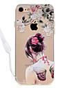 아이폰 7plus 7 나비 섹시한 여자 패턴 아크릴 백플레인 및 tpu 가장자리 소재 목 매는 밧줄 6s 플러스 6plus 6s 6 se 5s 5