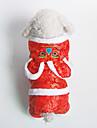 Собака Комбинезоны Одежда для собак Хлопок Пух Зима Весна/осень На каждый день С геометрическим рисунком Красный Для домашних животных