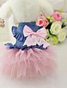 Собака Платья Одежда для собак На каждый день Джинсы Белый Розовый Костюм Для домашних животных