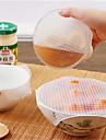 4pcs מזון רב תכליתי טרי סראן לעטוף כלי מטבח לשימוש חוזר מזון סיליקון עוטפת חותם ואקום מכסה מכסה למתוח