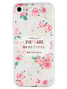 Case  for Apple iPhone 7 Plus  7 Cover Embossed Pattern Back Cover Case Word / Phrase Flower Soft TPU  6s Plus   6 Plus 6 6s 5 5s