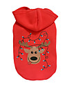 Собака Толстовки Одежда для собак Хлопок Пух Зима Весна/осень На каждый день Рождество Северный олень Красный Для домашних животных