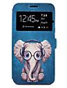 Para Case Tampa Porta-Cartao Com Suporte Estampada Corpo Inteiro Capinha Desenho Animado Elefante Rigida Couro Ecologico para SamsungA3