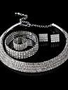 Women\'s Jewelry Set Rhinestone Ladies, Luxury, Fashion, Bling Bling Include Stud Earrings Necklace Bracelet White For Wedding