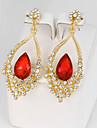 Femme Boucles d\'oreille goutte Imitation Saphir Imitation de diamant Mode bijoux de fantaisie Alliage Forme de Fleur Bijoux Pour Soiree