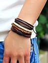 Men\'s Strand Bracelet Wrap Bracelet - Leather, Wood Personalized, Fashion Bracelet Jewelry Brown For Street