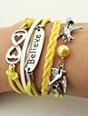 Men\'s / Women\'s Wrap Bracelet / Leather Bracelet - Leather Bird, Infinity Vintage, Bohemian Bracelet Yellow For Christmas / Wedding / Party