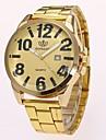 Men\'s Quartz Wrist Watch Chinese Imitation Diamond Alloy Band Casual Dress Watch Elegant Fashion Gold