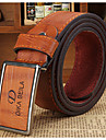 Men's White/Black/Brown Metal Buckle Faux Leather Belt  Jewelry Christmas Gifts