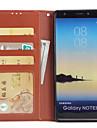 Кейс для Назначение SSamsung Galaxy Note 8 Кошелек Бумажник для карт со стендом Флип Чехол Сплошной цвет Твердый Искусственная кожа для