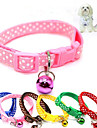 Cat Dog Collar Breathable Foldable Polka Dot Nylon Red Blue Pink