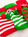 고양이 강아지 스웨터 크리스마스 강아지 의류 새로운 캐쥬얼/데일리 따뜻함 유지 스트라이프 화이트 레드 그린 코스츔 애완 동물