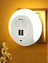 BRELONG® 1pc LED Night Light White Bedside with USB Port