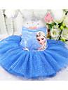 Chien Robe Vetements pour Chien Le style mignon Princesse Robe Motif Taches & Carreaux Impression reactive Personne Bleu Rose Costume