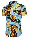 Camicia Per uomo Spiaggia Frutta Colletto classico - Cotone Ananas / Manica corta / Estate